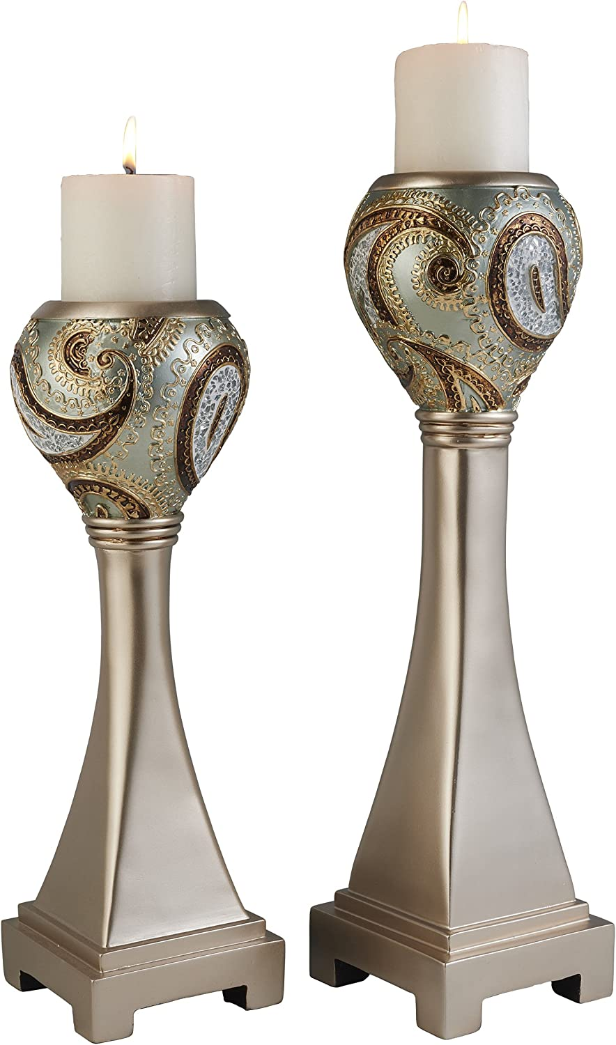 OK Lighting OK-4277C Aurora Paisley Candleholder (Set of 2), 16  & 19