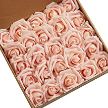 N&T NIETING Roses Artificial Flowers, 25pcs Real Touch Artificial Foam Roses Decoration DIY for Wedding Bridesmaid Bridal Bouquets Centerpieces, Party Decoration, Home Display (Blush)