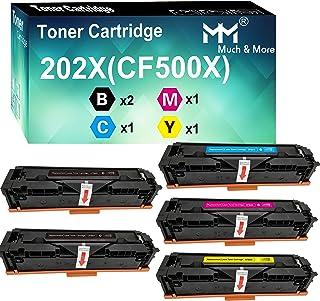 (5-Pack, 2X B+C+M+Y) Compatible CF501X CF502X CF503X CF500X Toner Cartridge 202X High Yield Used for HP Laserjet Pro M254D...