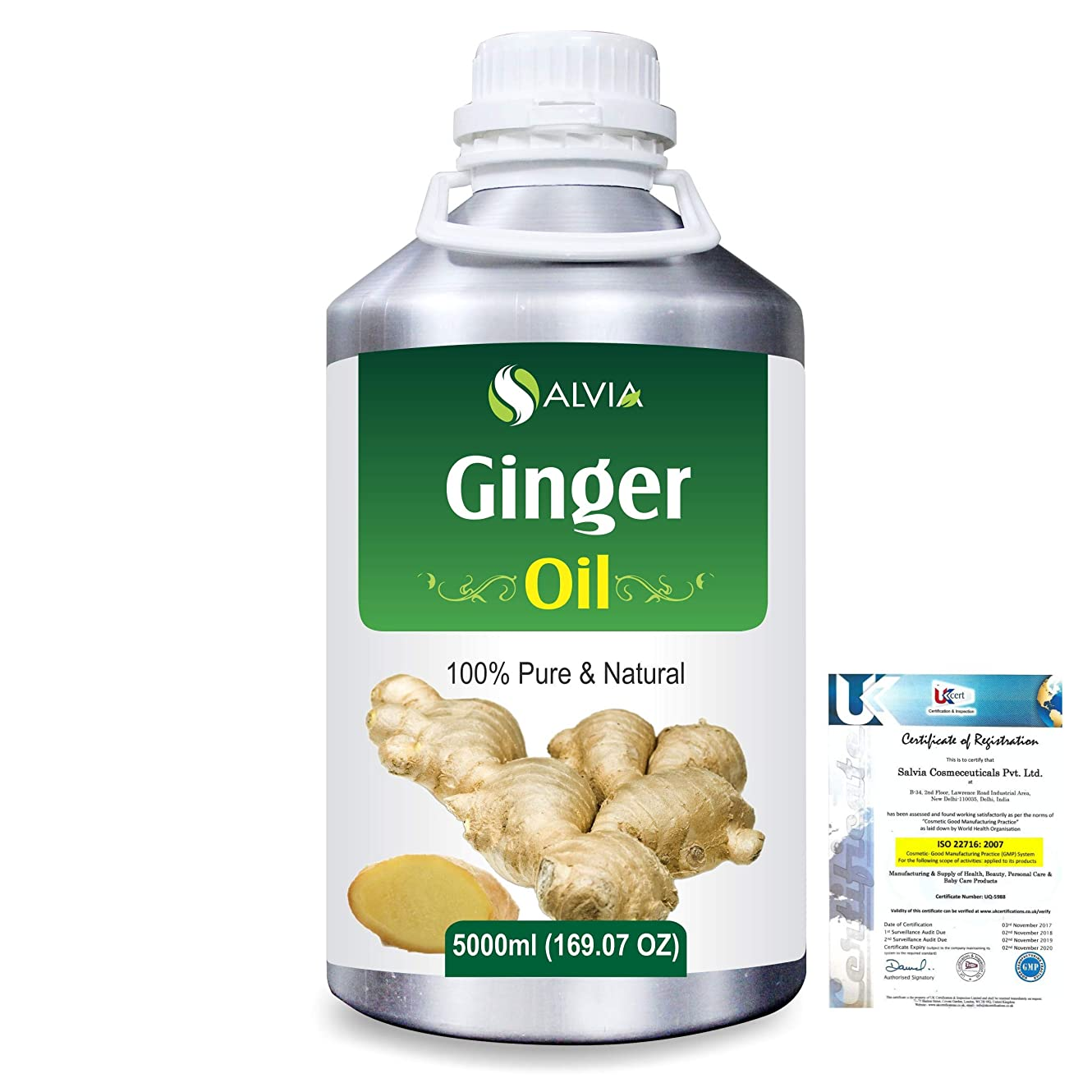 ヒューズ遺伝的ぶどうGinger (Zingiber officinale) 100% Natural Pure Essential Oil 5000ml/169fl.oz.