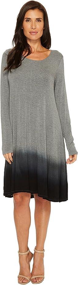 Rayon Spandex Jersey Dip-Dye Long Sleeve Swing Dress