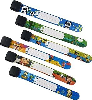 دستبند ایمنی ID Wristbands Infobands دستبند مخصوص کودکان در زمینه سفر کودک سفر به میدان ، فعالیت در فضای باز ، قابل تنظیم قابل استفاده مجدد (مجموعه 6 پسر)