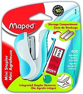 Maped Ergologic Mini Stapler & 400 Staples, Assorted Colors (352149)