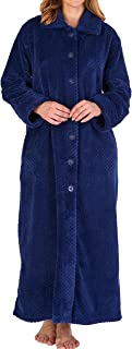 Ladies Luxury Soft Thick Waffle Fleece Button Up Robe Dressing Gown