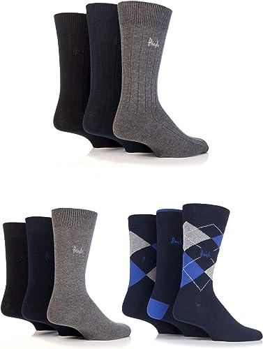 Mens 9 Pair Pringle Plain Rib and Argyle Cotton Socks