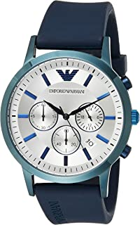 Emporio Armani Men's Renato Stainless Steel Analog-Quartz Watch with Rubber Strap, Blue, 22 (Model: AR11026)