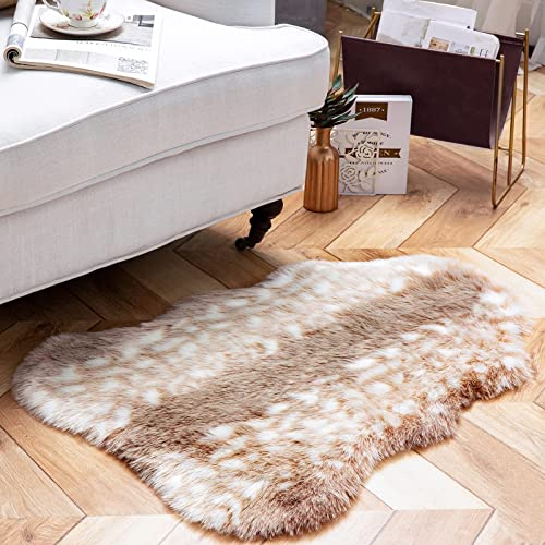 discount Phantoscope Ultra Soft Faux online Deer Fur Rug Chair Couch Cover Area Rug for Bedroom Floor high quality Sofa Living Room, Beige, 2 x 3 Feet sale