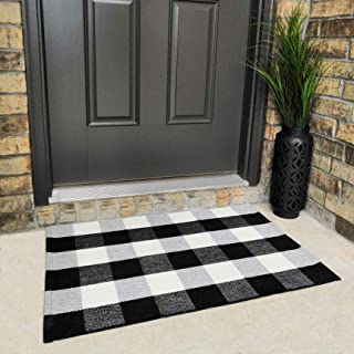 Cotton Buffalo Plaid Rugs Black and White Checkered Rug Welcome Door Mat (23.6
