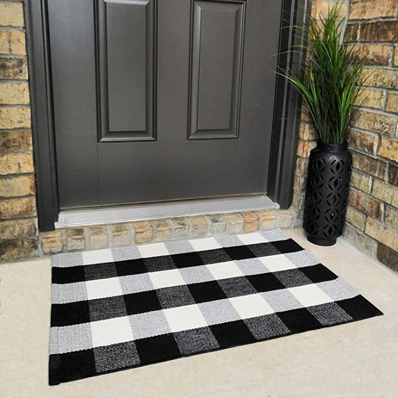 Cotton Buffalo Plaid Rugs Black And White Checkered Rug Welcome Door Mat 23 6 X35 4 Rug For Kitchen Carpet Bathroom Outdoor Porch Laundry Living Room Braided Throw Mat Washable Woven Buffalo Check
