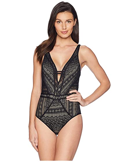 fcd3a71197555 BECCA by Rebecca Virtue Color Play Plunge One-Piece at Zappos.com