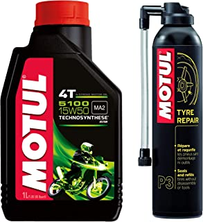 Motul 104080 5100 4T Hybrid 15W-50 API SM Technosynthese Semi Synthetic Engine Oil for Bikes (1 L) & Motul 102990 Tyre Rep...