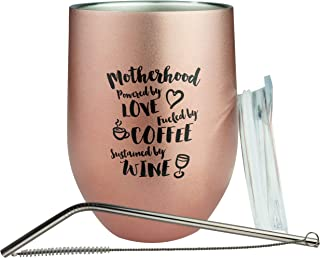Bokoi 12 oz Rose Gold Coffee and Wine Tumbler with Funny Mom Quote | Stainless Steel Insulated Cup, Straw, Brush and Sliding Lid | Mother's Day and Birthday Gift with Saying | Fun Novelty Wine Glass