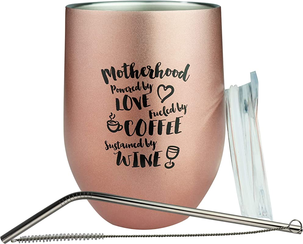 Bokoi 12 Oz Rose Gold Coffee And Wine Tumbler With Funny Mom Quote Stainless Steel Insulated Cup Straw Brush And Sliding Lid Mother S Day And Birthday Gift With Saying Fun Novelty Wine Glass