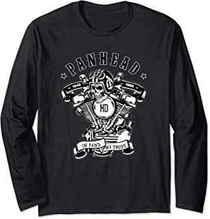 HD PanHead V-Twin Motorcycle Rockabilly Skull Crossbones Long Sleeve T-Shirt