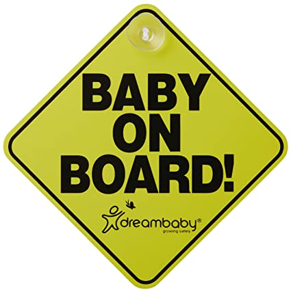 Vehicle Sign With Suction Cup Attachment Designed To Notify Other Drivers That You Have Baby in the Car Yellow and Black Baby on Board Sign Little Person On Board Car Sign With Baby Feet Vehicle