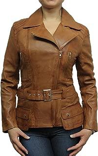 Womens Classic Leather Biker Jacket Genuine Goat Skin