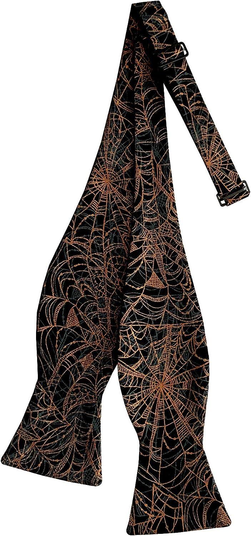 Holiday Bow Ties Mens Self-tie Bow Tie Spider Webs in Black and Metallic Orange