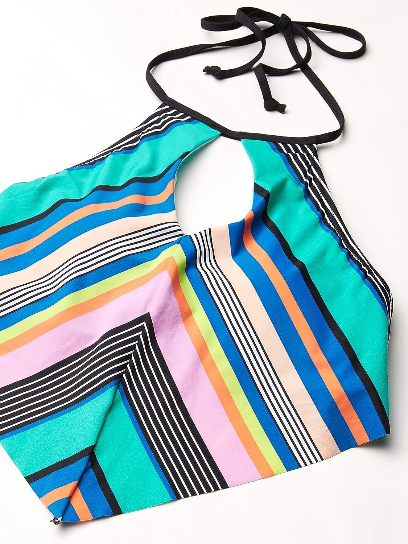 Hobie Women's High Neck Keyhole Halter Hipster Bikini Swimsuit Top
