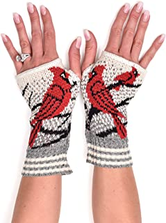 Green 3 Women's Recycled Cotton Hand Warmer Fingerless Gloves, Made in USA (One Size)