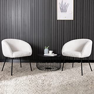 ONEVOG Sherpa Vanity Chairs Set of 2 Modern Accent Chair, Comfy Upholstered Armchair for Dining Room, Bedroom, Living Roo...