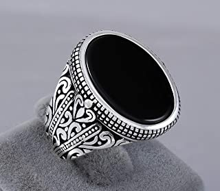 925 Sterling Silver Ring for Men with Oval Black Onyx Stone Turkish Handmade Mens Jewelry Male Rings Size 12
