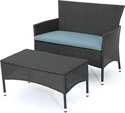 Christopher Knight Home Malta Outdoor Wicker Loveseat and Coffee Table Set with Water Resistant Cushions, Grey / Teal Cushion
