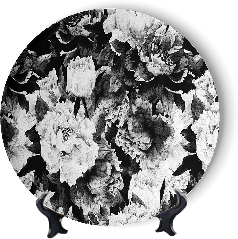 MOOMOO Black Floral Decorative Plates Camellia Ceramic P Artwork 2021 spring and summer Finally popular brand new