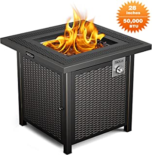 TACKLIFE Propane Fire Pit Table, Outdoor Companion, 28 Inch 50,000 BTU Auto-Ignition Gas Fire Pit Table with Cover, CSA Certification and Strong Striped Steel Surface