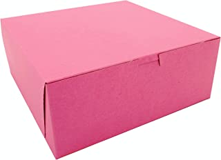"""Southern Champion Tray 0873 Pink Paperboard Non-Window Lock-Corner Bakery Box, 10"""" Length x 10"""" Width x 4"""" Height (Case of 100)"""