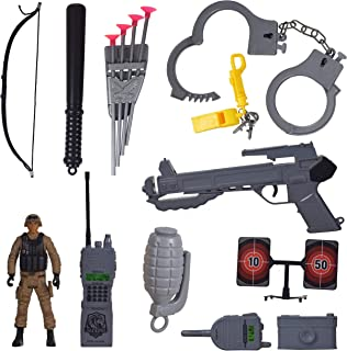 WISHKEY Military Police Toy Set with 16 Pieces Pretend Play Accessories for Kids