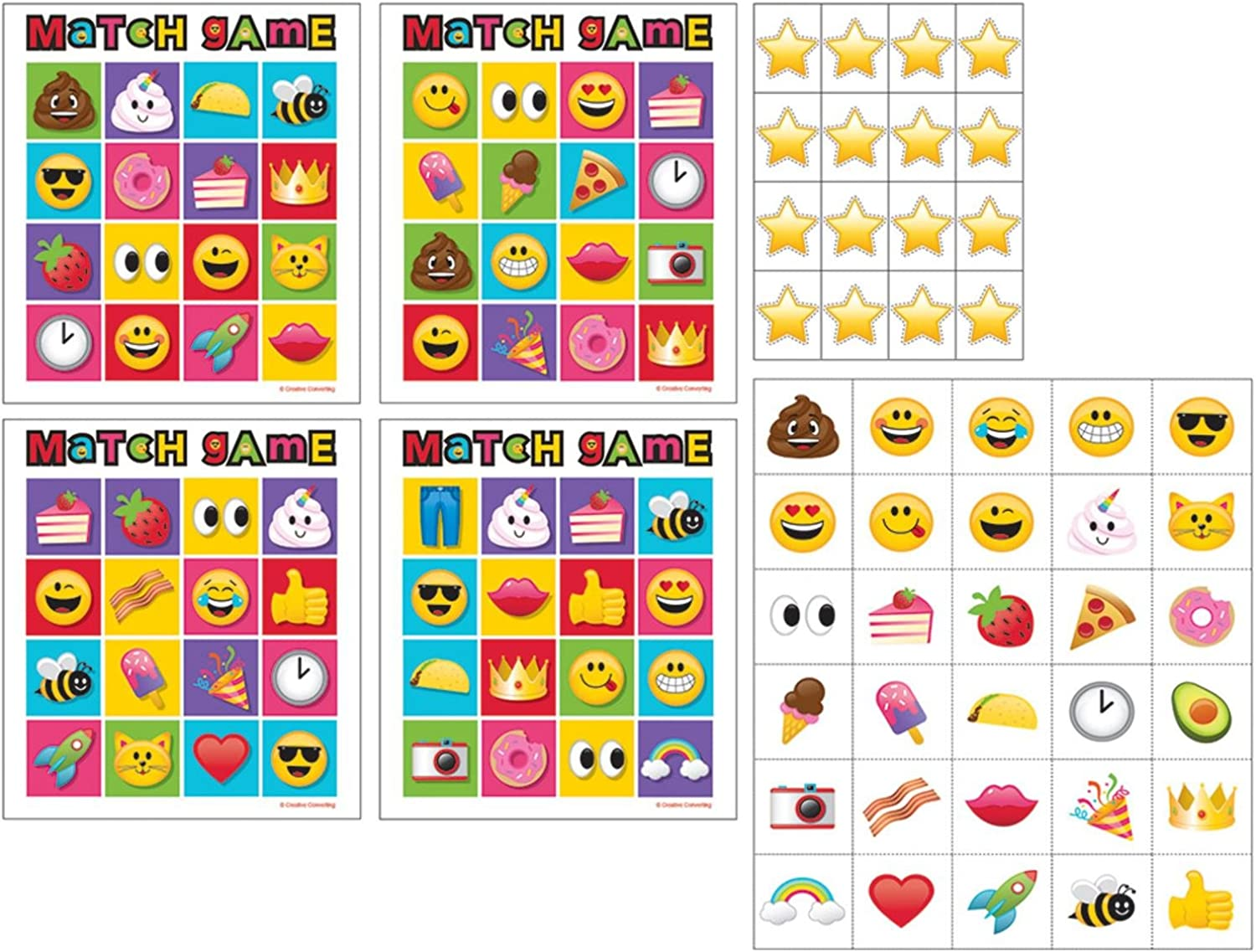 Party Central Pack of 6 Multicolord Show Your Emojis Smiley Theme Game Bingo 10
