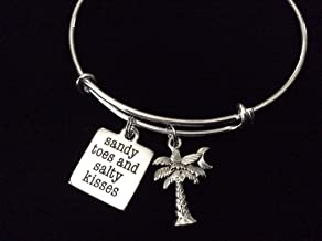 Sandy Toes and Salty Kisses Expandable Charm Bracelet Silver Bangle Ocean Nautical Gift Trendy