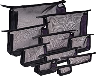 SHANY Black Mesh Travel Organizer Bag Set - Ten See-Thru Zippered Cosmetic and Toiletry Pouches in Variety Sizes - Set of 10