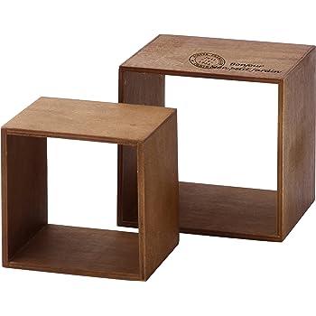 不二貿易 木製ディスプレイBOX 2個セット ブラウン 31800