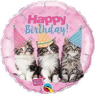 Qualatex 18in Birthday Kittens Round Foil Balloon