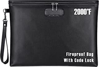 """Fireproof Document Bag with Lock, ZOOPIP 14.3""""x10.2"""" Fireproof and Waterproof Money Bag with Zipper Closure, Storage Pouch..."""