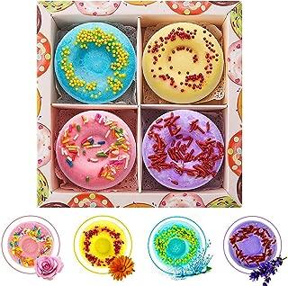 Welltop Bath Bombs Gift Set 4 Packs Natural Donut Fizzies Spa Kit Handmade Organic Spa Bomb Ideal Gift for Women, Men, Girls, Children, Mom, Wife