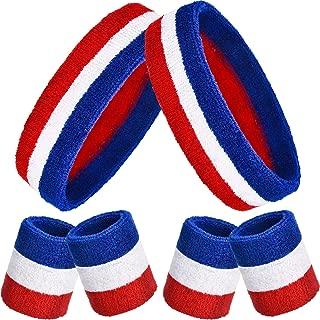 Bememo Sweatbands Set, Includes Sports Headband and Wristbands Sweatbands Colorful Cotton Sweatband Set for Men and Women