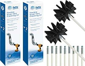 Fette Appliance - Flexible Dryer Vent Cleaning Kit, Lint Remover, Extends up to 24 Feet, Includes 2 Synthetic Brush Head, ...