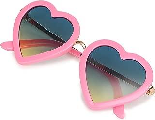 CMK Trendy Kids Kids Polarized Heart Shaped Sunglasses for Toddler Girls Age 3-10