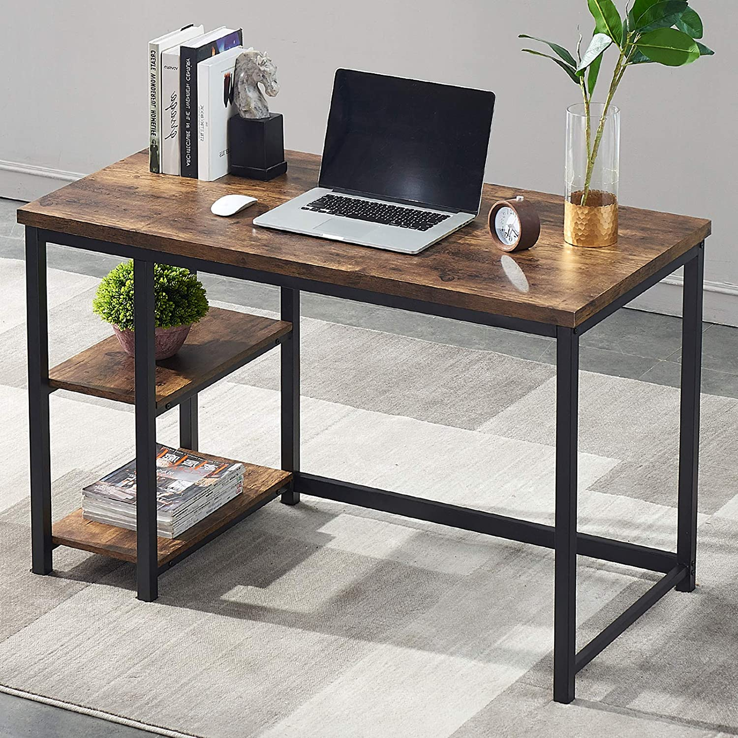 Sales for sale UnaFurni Office Computer Desk with Study Japan's largest assortment Shelves Inch Writin 55