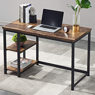 UnaFurni Office Computer Desk with Shelves, 55 Inch Study Writing Desk Wood and Metal, Rustic Industrial Home Office Works...