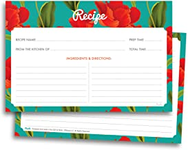 Vintage Floral Recipe Cards - 50 Double Sided Cards, 4x6 inches. Thick Card Stock
