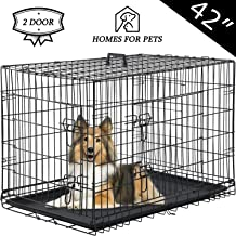 Vnewone Large Dog Crate Dog Cage Medium Dog Kennel Animal Pet Crate Pet Cage Metal Wire Double Door Folding Fully Equipped...