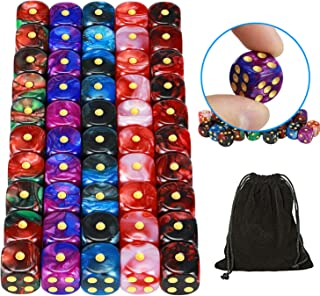 YOUSHARES 50 Pack D6 Game Dice Set with Pouch - 16mm Two Color 6 Sided Dice, Perfect Table Games Dice for Tenzi, Yahtzee, DND MTG RPG War Games