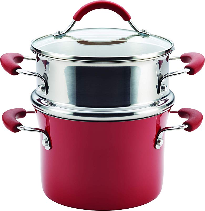 Rachael Ray Cucina Hard Porcelain Enamel Nonstick Multi Pot Steamer Set 3 Quart Cranberry Red