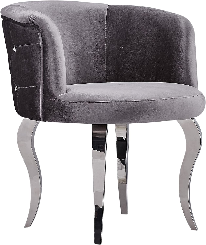 Barock Sessel Stuhl mit Velours mit Metallbeinen im Glamourstil Grau 74 x 65 x 65 cm