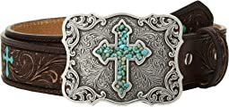 Scroll Embroidery Turquoise Cross Belt (Little Kids/Big Kids)