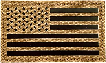 """2x3.5"""" Infrared IR US USA American Flag Patch Tactical Vest Patch Hook-Fastener Backing (Coyote Brown Tan)"""