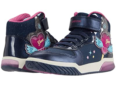 Geox Kids Inek 3 (Little Kid/Big Kid) (Navy/Fuchsia) Girl